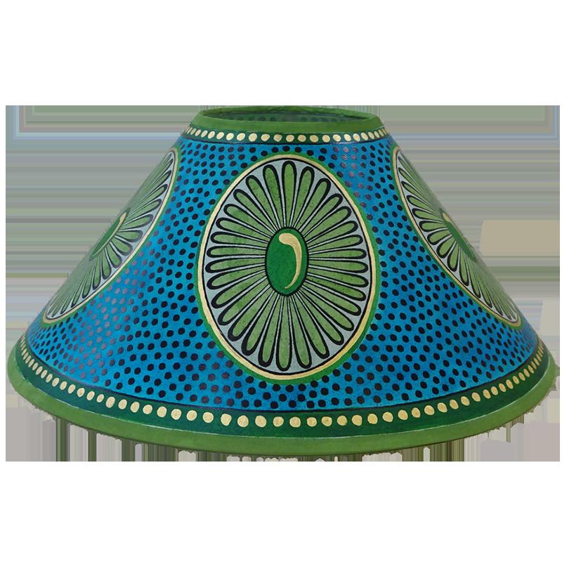 Daisy Lampshade Green Blue Gold, Blue And Green Lamp Shade